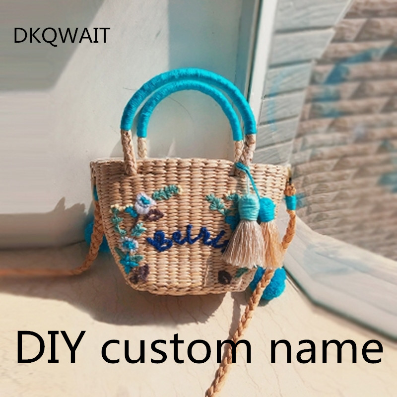 DIY Custom letters Women Straw Handbag Fashion Flower Hit Color Shoulder Bags Shoulder Bag Large Big