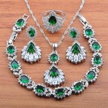 Свадебный костюм австрийский кристалл зеленый циркон 925 пробы серебро для женщин ювелирные наборы Handsel независимая Подарочная коробка JS476