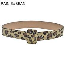 RAINIE SEAN Designer Ladies Belt Wide Leopard Women Leather With Velvet Pin Buckle Khaki Fashion 4.5cm Female Jeans