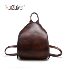 Здесь можно купить  HUIZUMEI new genuine leather casual women school bag travel bag retro backpack shoulder bag    Backpacks