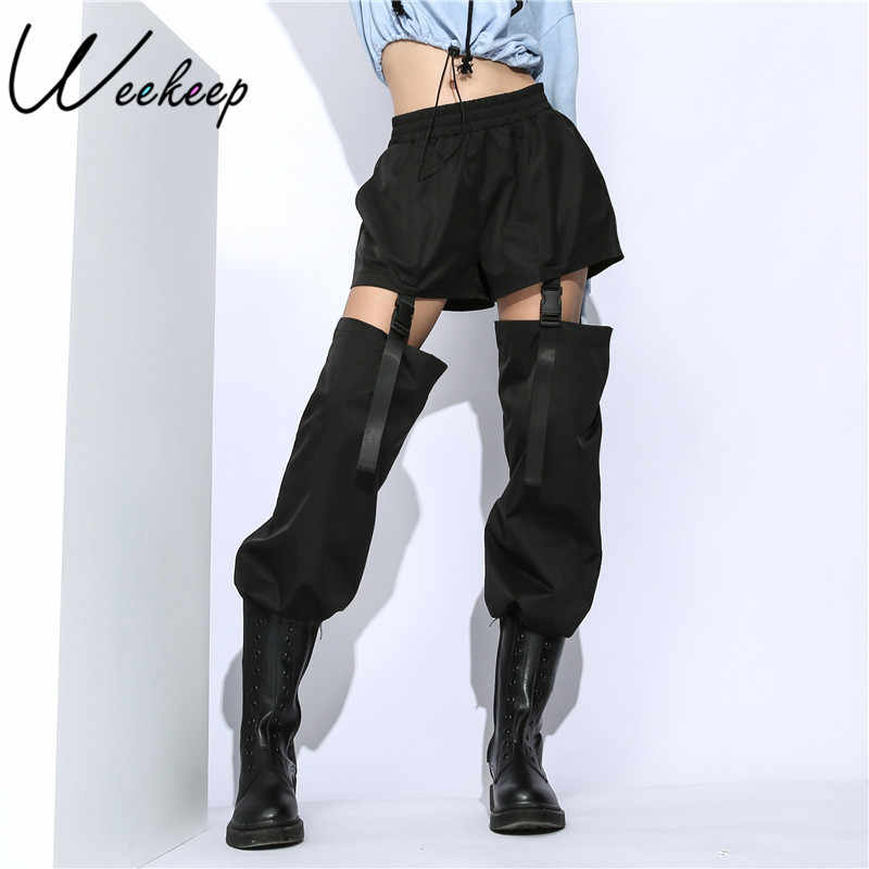 Weekeep Black High Waist Patchwork Pants Women Fashion Hollow Out Adjustable Buckle Pencil Pants Streetwear Trousers Women