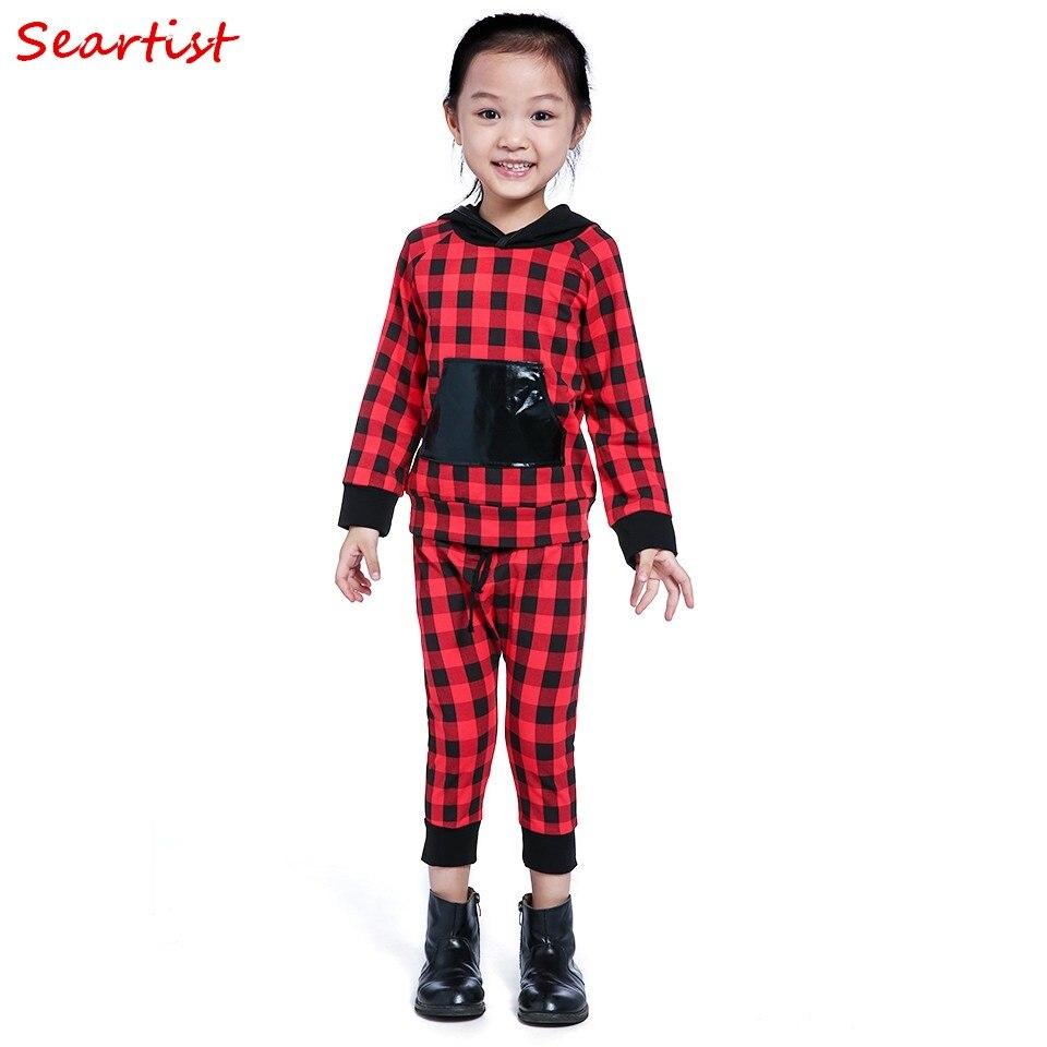 Seartist Baby Boys Girls Christmas Clothing Set Kids Cotton Red Plaid 2Pcs Suit Hoodies+Pants Girl Autumn Suit 2018 New 42C
