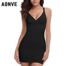 AONVE Women Sey Control Slips Black Nude Body Shaper Waist Trainer Slimming Underwear Dress Deep V Neck Backless Club Dress