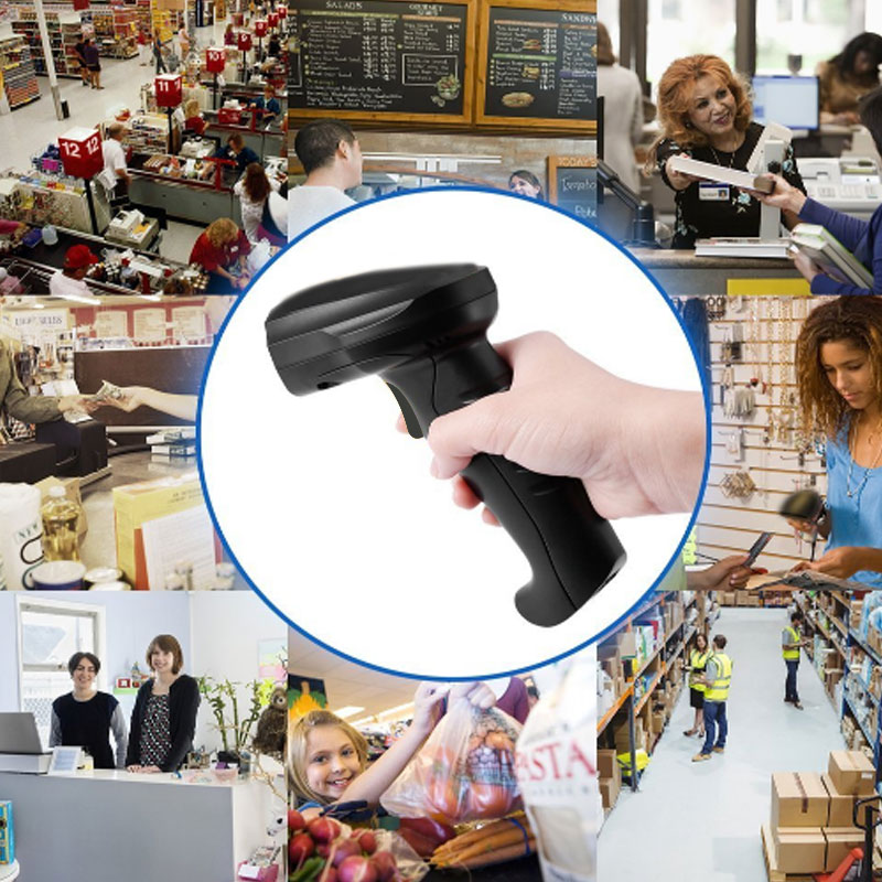 BP-618-MD 433 Wireless Laser Barcode Scanner Rechargeable Cordless Bar Code Reader For POS Inventory XXM8 free shipping data inventory management report wireless wired 1d ean13 upca e laser barcode scanner