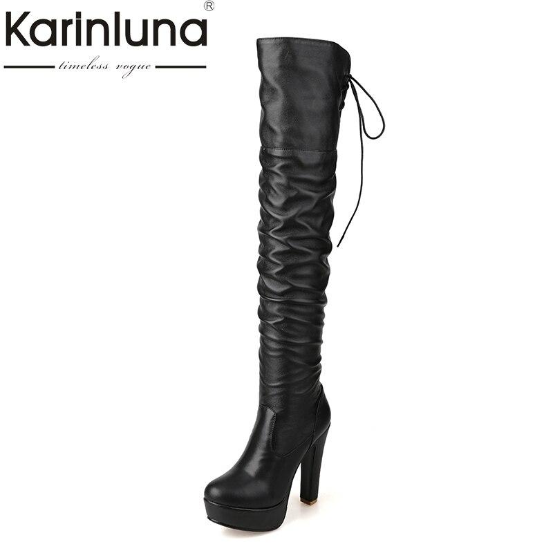 где купить KARINLUNA Large Size 34-43 Add Warm Plush Super High Heels Woman Shoes Women Sexy Over The Knee Boots Slip On Black Platform по лучшей цене