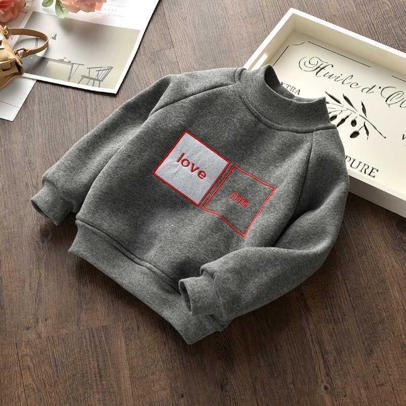 Детское пальто с надписями пуловер для мальчиков и девочек теплая детская футболка с длинными рукавами для зимы, черные спортивные толстовки для девочек куртка для малышей