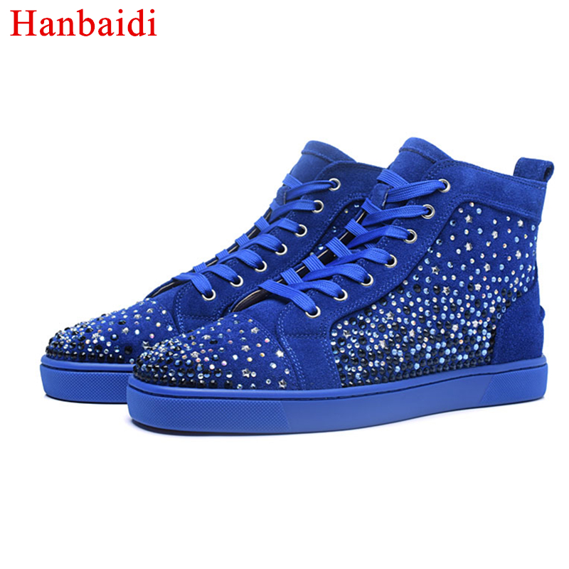 Hanbaidi Fashion Men Shoes High Top Head Studded Rivets Lace Up Crytsal Heavy Sole Round Toe Casual Shoes Man Luxury Brand Style