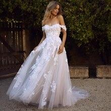 レースのウェディングドレス 2020 オフショルダーアップリケ a ライン花嫁のドレスの王女自由奔放に生きるのウェディングドレス送料無料ローブデのみ
