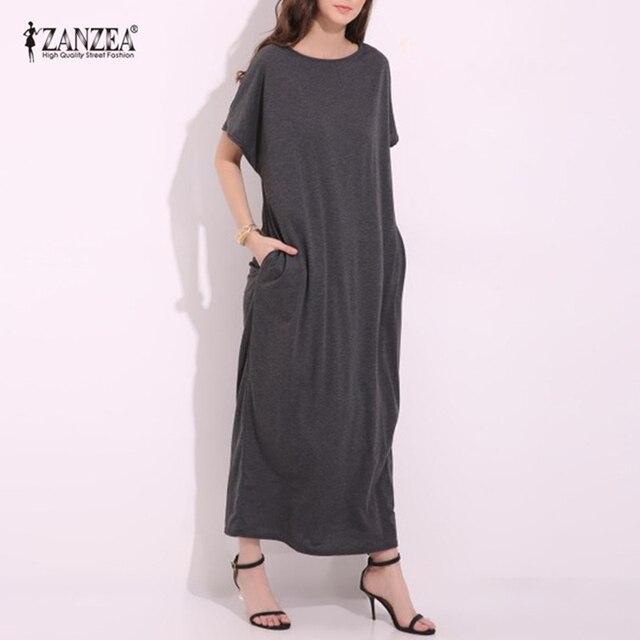 ZANZEA 2018 Womens Summer Round Neck Short Sleeves Loose Casual Party Solid Maxi Long Dress Kaftan Cotton Linen Vestido S-XL