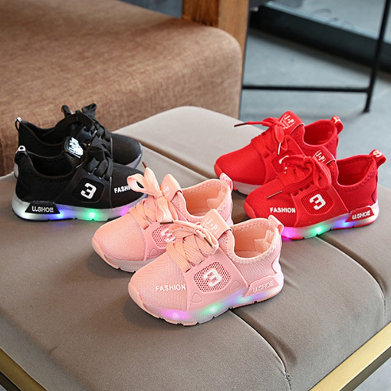 LED Girl Boys Sports Casual Shoes Toddler Infant Anti-slip First Walkers Shoes Children Shoes