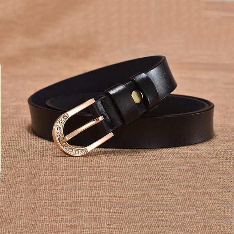 Genuine Leather Cowskin leather belt metal rhinestone buckle first layer cow skin womens