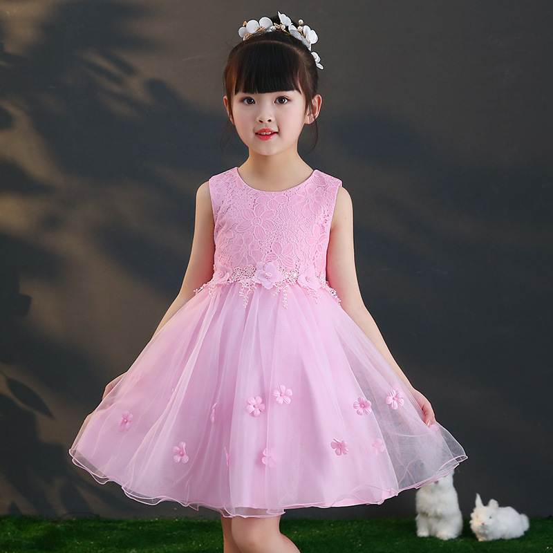 New Kids Girls Flower Dress Summer 2018 Children White Lace Party Princess Dresses Girl Teens Clothes Cute Dress 4 - 12 Y M810 flower children princess dress 2018 summer sleeveless kids lace dresses for girls mesh o neck teens party wedding clothes 3 12y