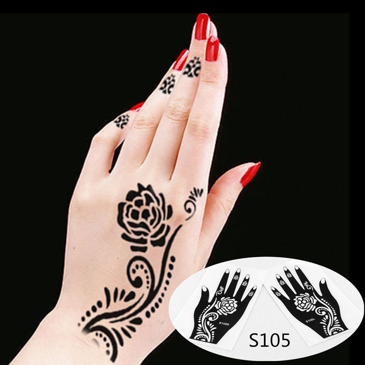 Korper Hand Tinte Tattoo Kunst Indien Henna Design Einfach Schablone Mehndi Tattoos Vorlagen Henna Schablonen 2 Teil Los Tattoo Skeleton Henna Tattoo Painthenna Designs Aliexpress