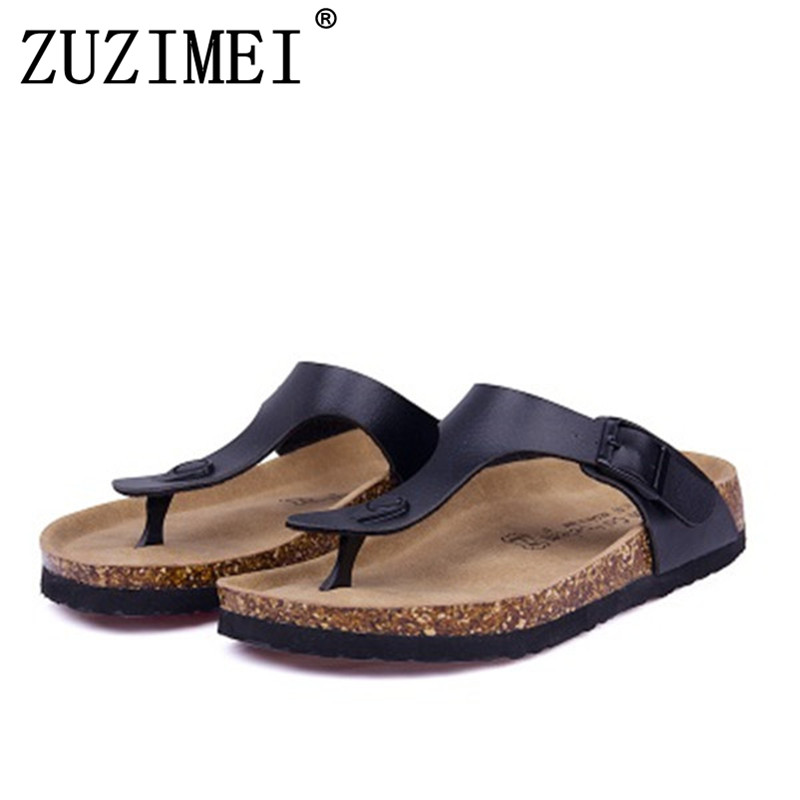 New Men Summer Sandals Cork Shoes Slippers Casual Shoes Mixed Colors Beach Slippers Flip Flops Flats Slides Plus Size 35-45 2018 new summer style beach cork slipper flip flops sandals women mixed color casual slides shoes flat with plus size 35 45