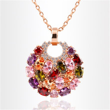 2019 Colorful Alloy Zircon Necklace Round Pendant Sweater Chain Necklaces For Women Jewelry Dropshipping graceful rhinestone alloy sweater chain for women