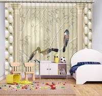 blue room curtains flower and birds