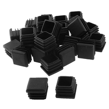 Square Table Chair Leg Tube Pipe Feet Insert Cap 25mmx25mm 30pcs Black
