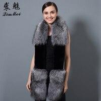 180cm Long Women's Scarf Natural Fox Fur & Rex Rabbit Fur Scarves Newest 2018 Elegant Winter Female Scarves & Shawls Real Fox