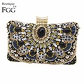 Women Brand Black Beaded Sequined Diamond Applique Handbag Wedding Party Chains Crystal Clutches Purse Satin Evening Clutch Bag