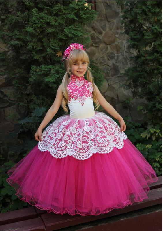 2017 Hot Sale Little   Girl   Pageant   Dresses   Organza Halter Ball Gown Lace Up Back Beads Crystals   Flower     Girls     Dresses