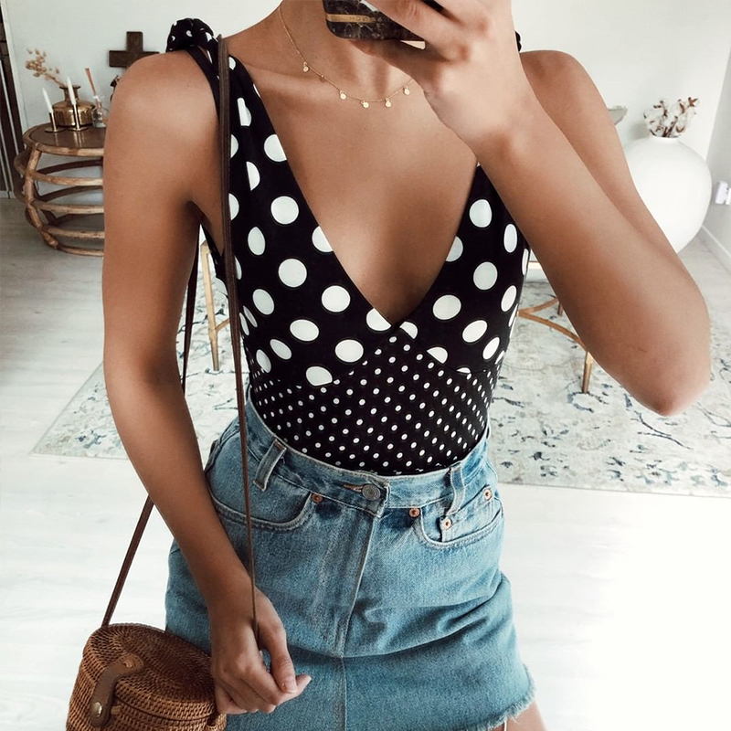 High Leg Swimsuit 2019 Sexy Thong One Piece Swimwear 2019 Black Polka Dot Swimsuit Women Monokini String Sexy Bathing Suit Mujer in Body Suits from Sports Entertainment