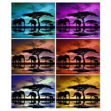 3D DIY Diamond Painting Elephant Landscape Sunset Full & Round Embroidery Crystal Mosaic 5D Cross Stitch Manual