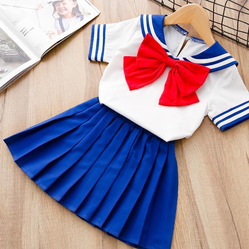2018 Summer Girls Skirt Set Sailor Moon Chibi Baby Halloween Seifuku Costume Baby Toddler Outfit Kids Cosplay Dress free shipping sailor moon chibiusa sailor chibi moon lolita cosplay party wig
