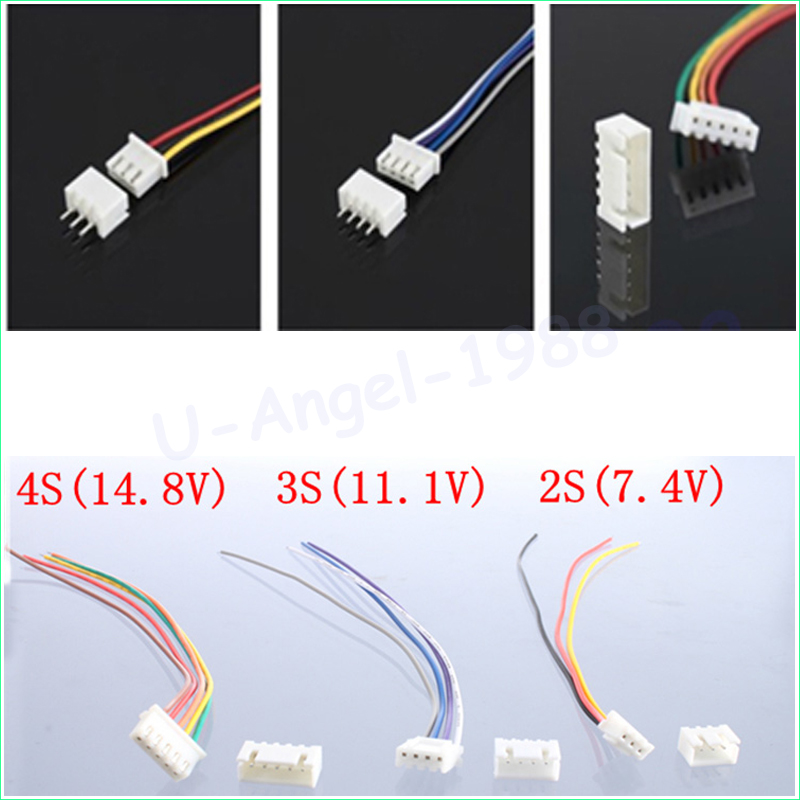 10 Pairs/lot 150mm RC lipo battery balance charger plug 2S1P 3S1P 4S1P Wire Line Cable with male and female plug Dropshipping