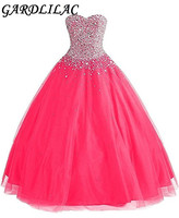Gardlilac Organza Sweetheart Beading Sparkly Hot Pink Ball Gown Quinceanera Dresses Long 2017 Vestido 15 Anos