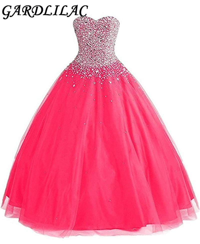 Gardlilac Organza Sweetheart Beading Sparkly Hot Pink Ball Gown Quinceanera Dresses Long 2017