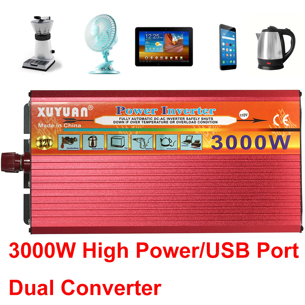 Car Power Inverter 3000W With USB Ports Charger Car LED Power Inverter Converter DC 12V to AC 110V Dual Converter Charger 60w magsafe 2 car charger with usb port for apple macbook