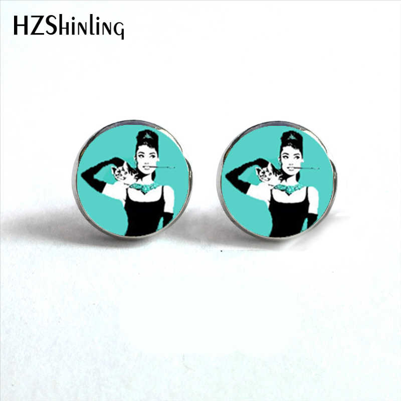 NES-0018   Audrey Hepburn in Paris Earrings Audrey Hepburn Jewelry Earring Famous Quote Stud Earrings For Woman HZ4