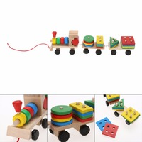 New Baby Toys Kids Educational ToyWooden Solid Wood Stacking Train Toddler Block Toy Brand Children Gifts