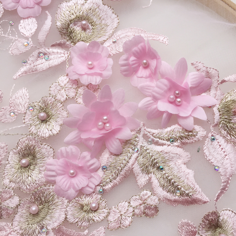 1 Pc Lace Applique Flower Sewing Flower Embroidery Lace Trim Bridal Wedding Applique Beaded Tulle DIY Sewing Trims Wedding Dress in Lace from Home Garden
