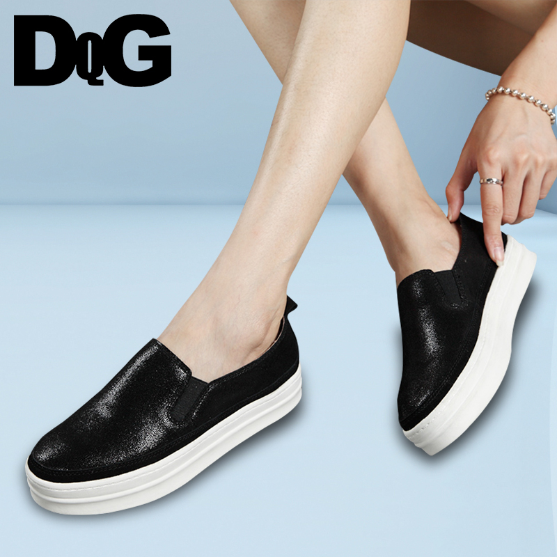 DQG 2018 Spring Casual Women Shoes Loafers Solid Leather Flat Platform Zapatos Mujer Slip On Flats Ladies Shoes Chaussures Femme все цены