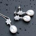 AAA Cristalino Brillante de Lujo Real collar de Perlas Naturales Mujeres Joyería de La Boda Establece Oro Blanco de Calidad Superior Plateó el Colgante +