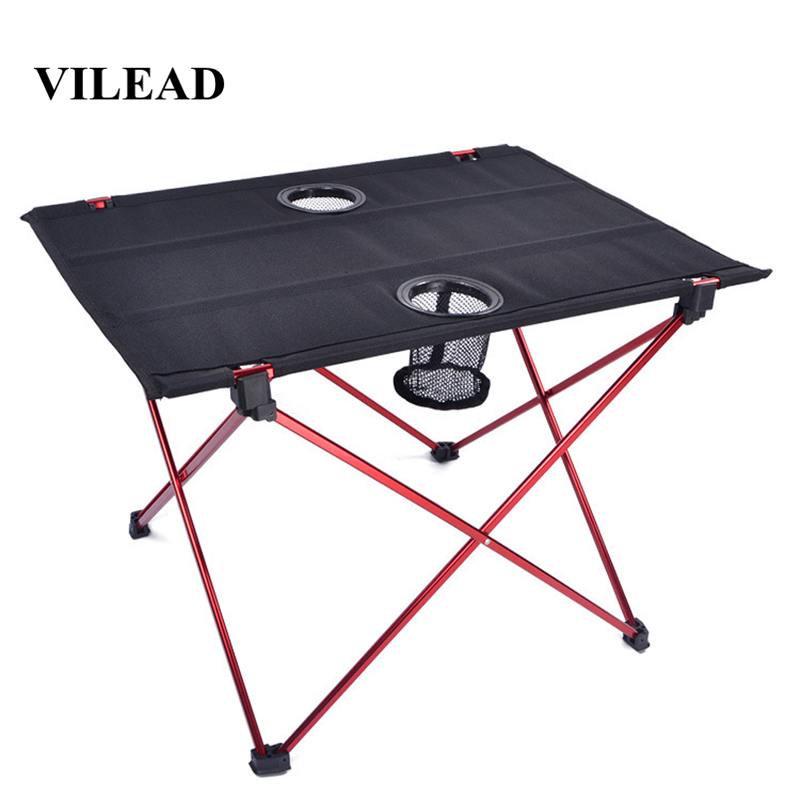 VILEAD Ultralight Aluminium Picnic Table 56*42*40cm Portable Foldable Durable BBQ Outdoor Camping Beach Waterfproof Stable Fold-in Camping Tables from Sports & Entertainment