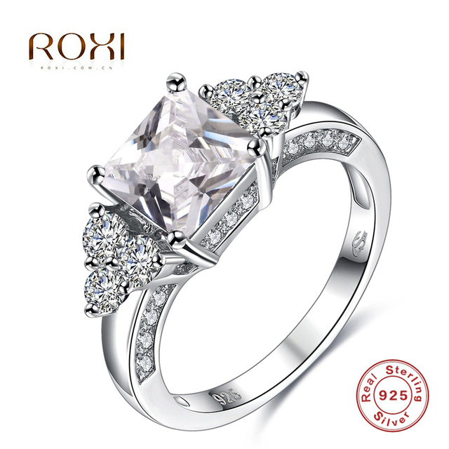 ROXI 925 Sterling Silver Rings White Triangle-shape Crystal Luxury Jewelry For Romantic Valentine's Gift Weeding Fashion Jewelry