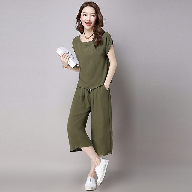 Donna Women Casual Cotton Linen Sets Short Sleeve Slim Top and Calf-Length Elastic-Waist Capri Pants 2 Piece Set Fall Suit T302Z