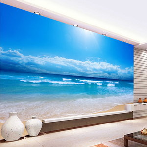 Пользовательские 3D фото стена Бумага вид на море настенная живопись Гостиная диван Спальня ТВ Задний план стены Бумага море солнце пляж Стены росписи
