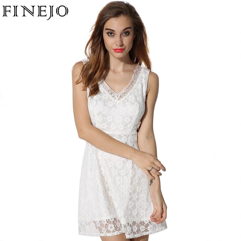 52be71e9f Finejo الصيف اللباس النساء عودة زيبر البسيطة فساتين الصلبة الأبيض مثير  ضئيلة لطيف الرقبة vestido زائد الحجم xxl vestidos