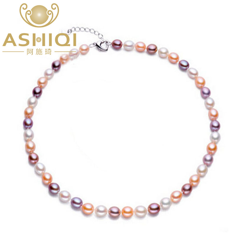 ASHIQI Natural Pearl Necklace Freshwater Pearls for women with 7-8mm colourful pearl Jewelry wedding gift 925 silver clasp