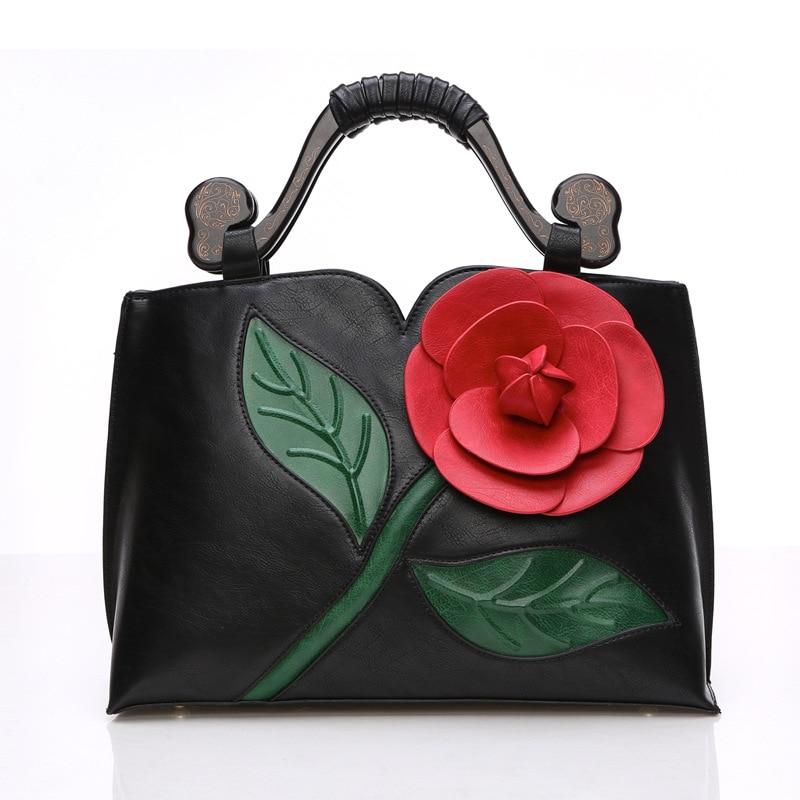 Women Leather Handbags Big Rose Flower Luxury Brands High Quality Messenger Bags Vintage Married Shoulder Bag Ladies Totes ME463
