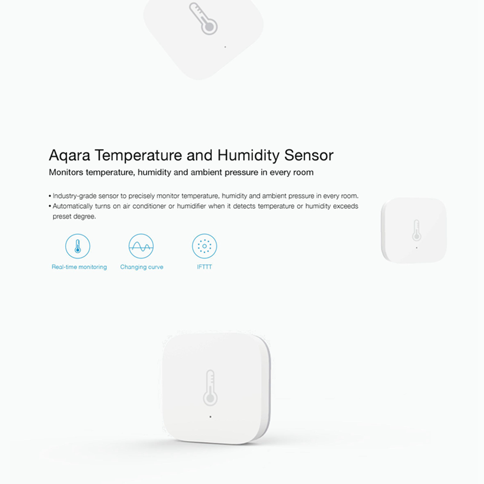 US $10 08 20% OFF|Xiaomi Aqara Temperature & Humidity Sensor Thermometer  Hygrometer Atmos Version for Baby Care Support IFTTT Gateway Mi Home App-in