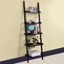 Modern 5-Tier Bookcase Bookshelf Leaning Wall Pants Shelf Ladder Storage Display Home Furniture Wall Cabinet HW51811(China)