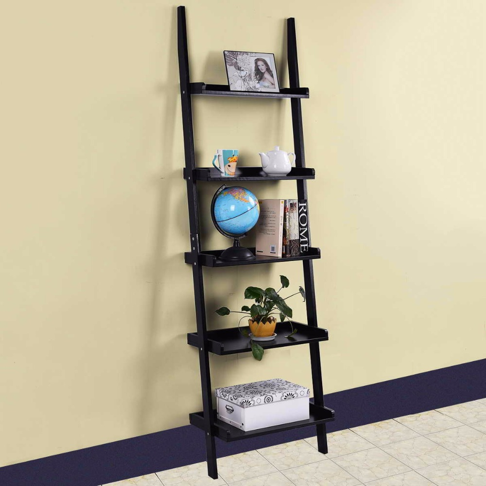 5Tier:  Modern 5-Tier Bookcase Bookshelf Leaning Wall Pants Shelf Ladder Storage Display Home Furniture Wall Cabinet HW51811 - Martin's & Co