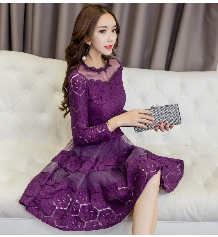 Vintage Lace Dress Women 2019 Spring New Women Dresses Long Sleeve O neck Bodycon Dress Sexy