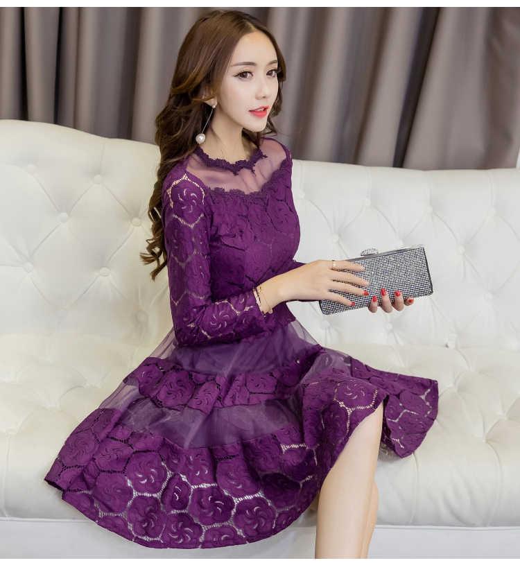 8bf7dc57f0 Vestido de encaje Vintage de las mujeres de la primavera de 2019 nuevos vestidos  de las