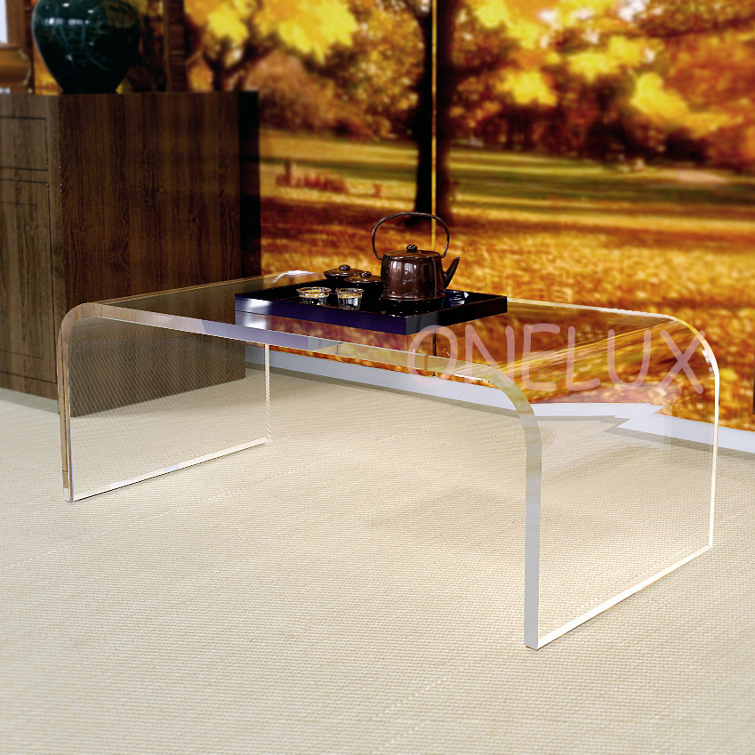 Free shipping Waterfall Acrylic U Table,Lucite Coffee / Tea / Occasional / Living room Tables free shipping shelf clear acrylic lucite bedside table plexiglass nightstand