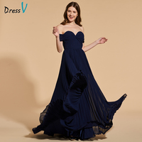 Dressv Sample Elegant Long Prom Dress Off The Shoulder Floor Length Pleats Evening Party Gown A